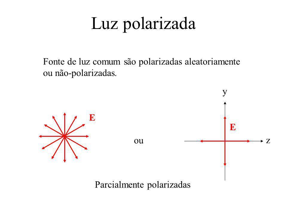 Luz polarizada Fonte de luz comum são polarizadas aleatoriamente