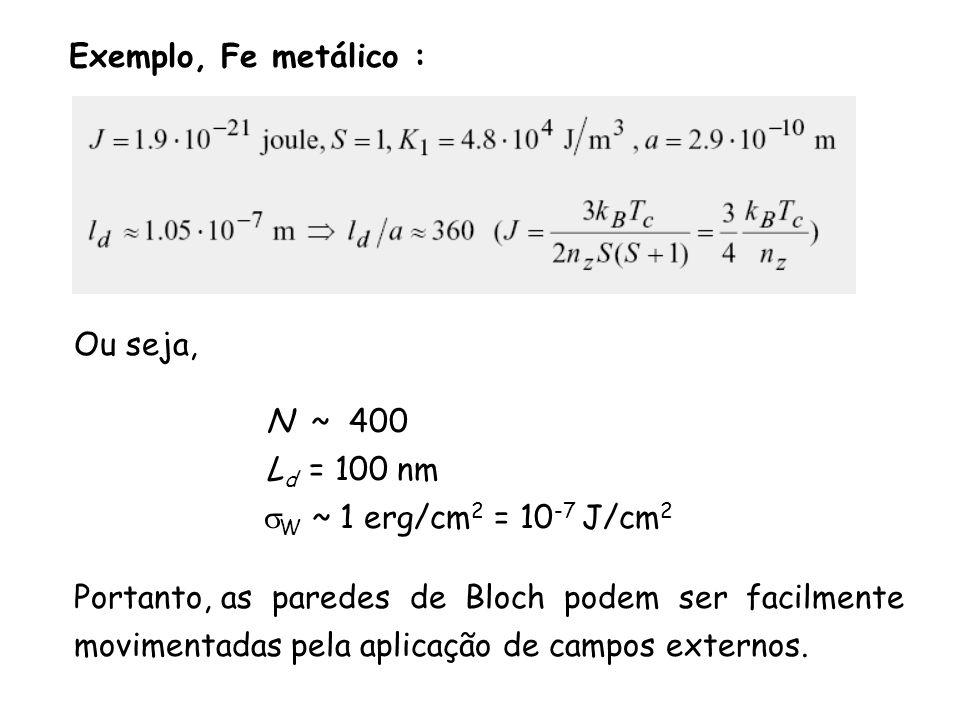 Exemplo, Fe metálico : Ou seja, N ~ 400. Ld = 100 nm. sW ~ 1 erg/cm2 = 10-7 J/cm2. Portanto, as paredes de Bloch podem ser facilmente.