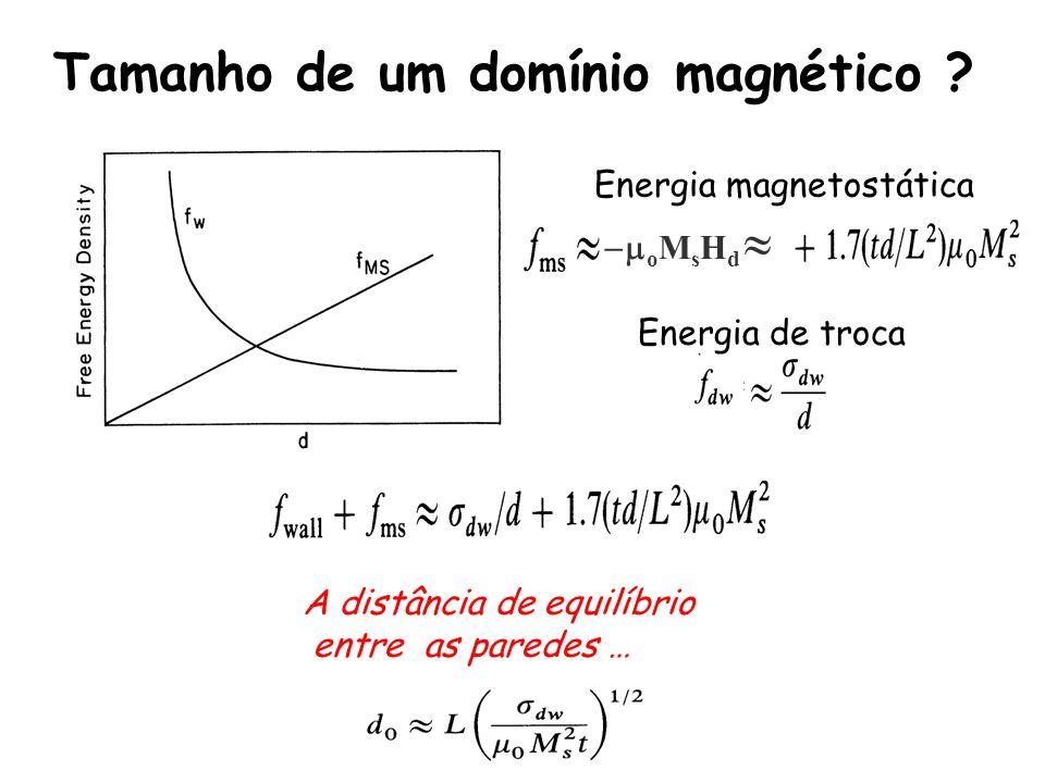 Tamanho de um domínio magnético