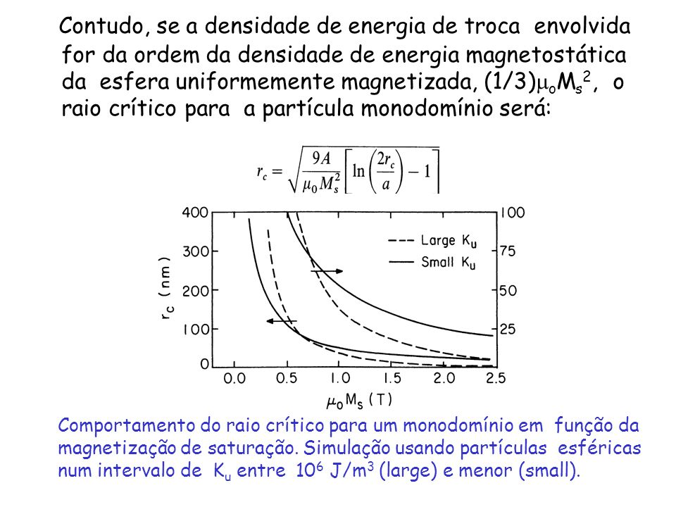 Contudo, se a densidade de energia de troca envolvida for da ordem da densidade de energia magnetostática da esfera uniformemente magnetizada, (1/3)moMs2, o raio crítico para a partícula monodomínio será: