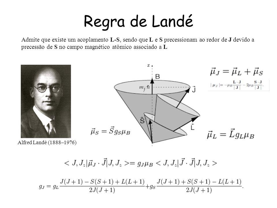 Regra de Landé Admite que existe um acoplamento L-S, sendo que L e S precessionam ao redor de J devido a.