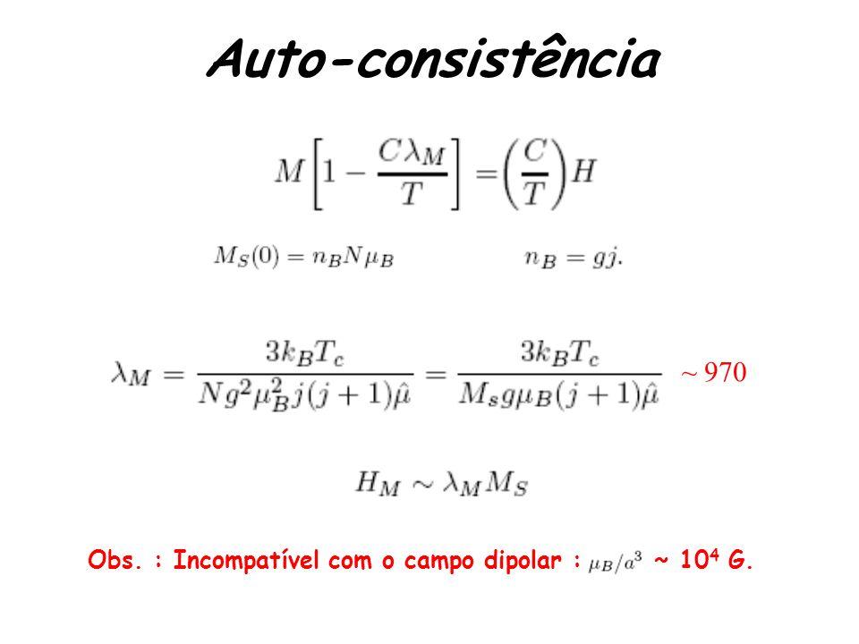 Auto-consistência ~ 970 Obs. : Incompatível com o campo dipolar : ~ 104 G.