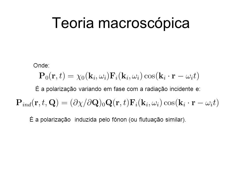 Teoria macroscópica Onde: