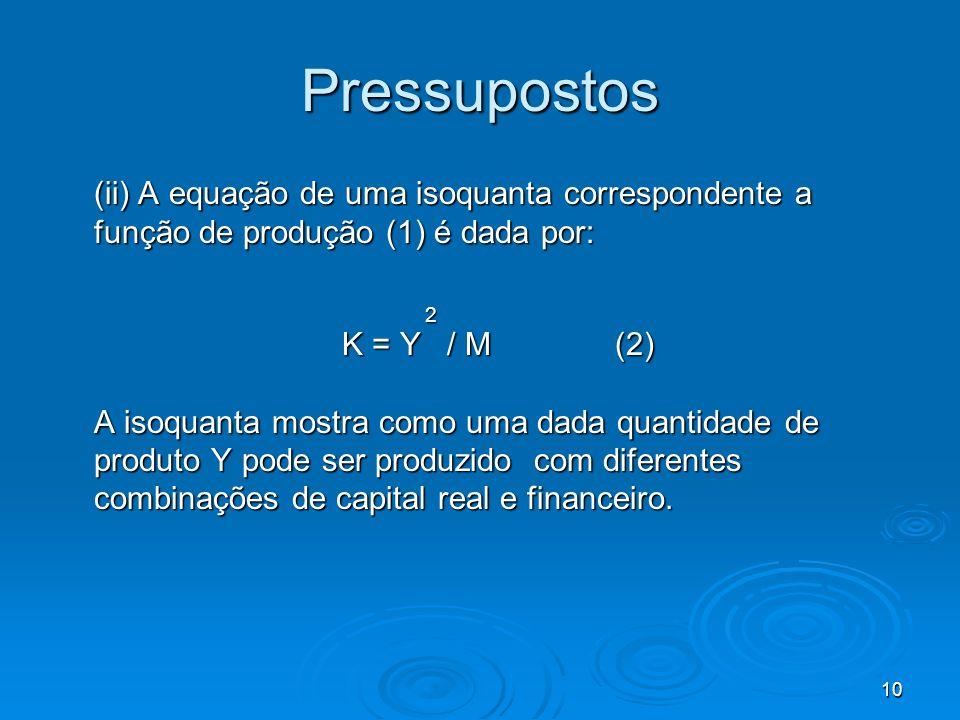 Pressupostos (ii) A equação de uma isoquanta correspondente a função de produção (1) é dada por: 2.
