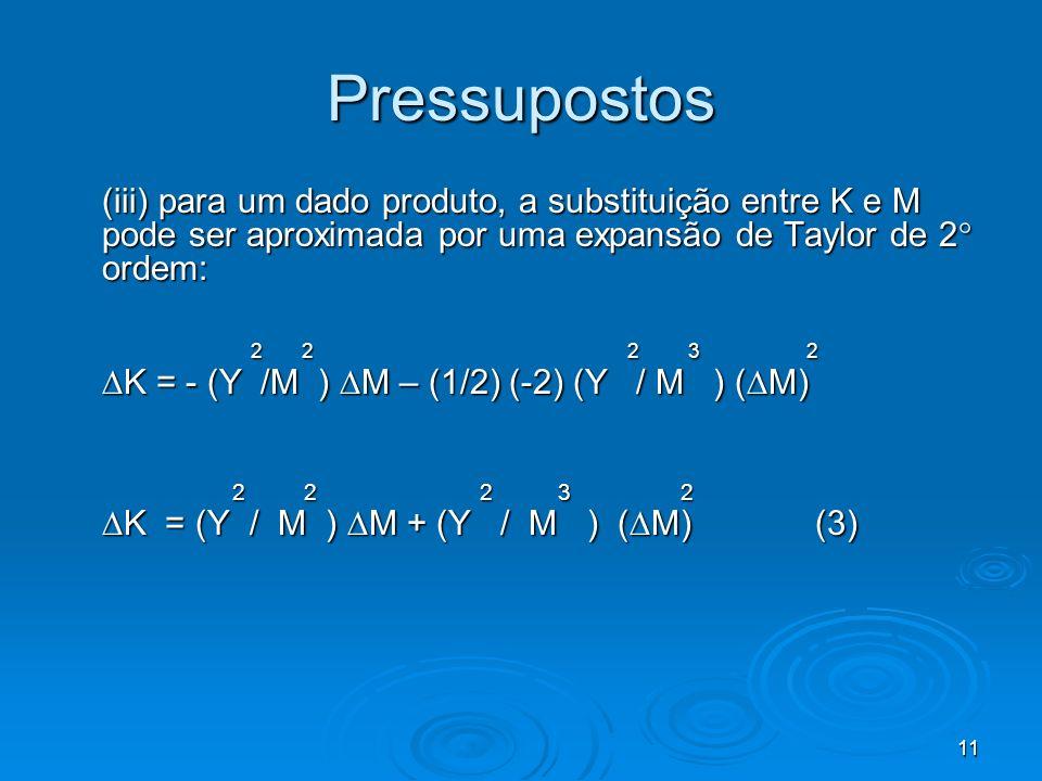 Pressupostos (iii) para um dado produto, a substituição entre K e M pode ser aproximada por uma expansão de Taylor de 2 ordem: