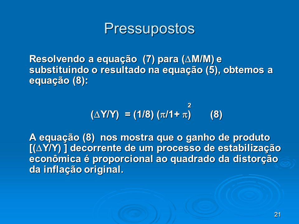 Pressupostos Resolvendo a equação (7) para (M/M) e substituindo o resultado na equação (5), obtemos a equação (8):