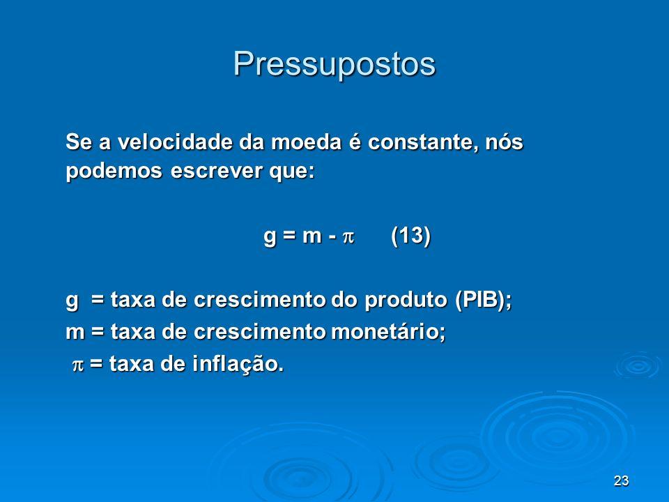 Pressupostos Se a velocidade da moeda é constante, nós podemos escrever que: g = m -  (13) g = taxa de crescimento do produto (PIB);