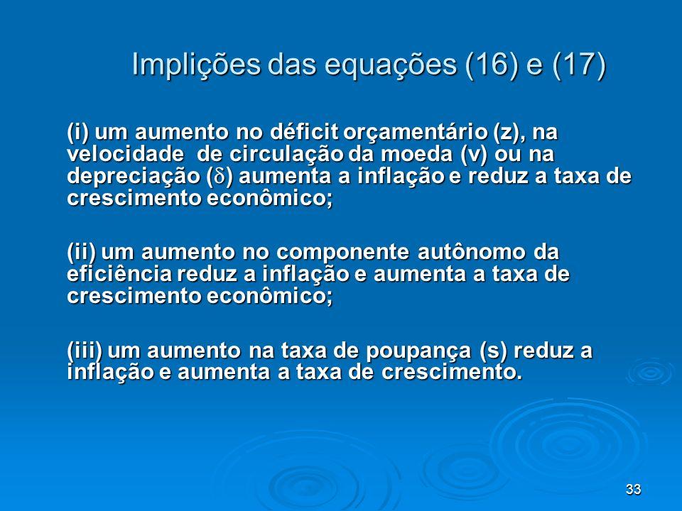 Implições das equações (16) e (17)