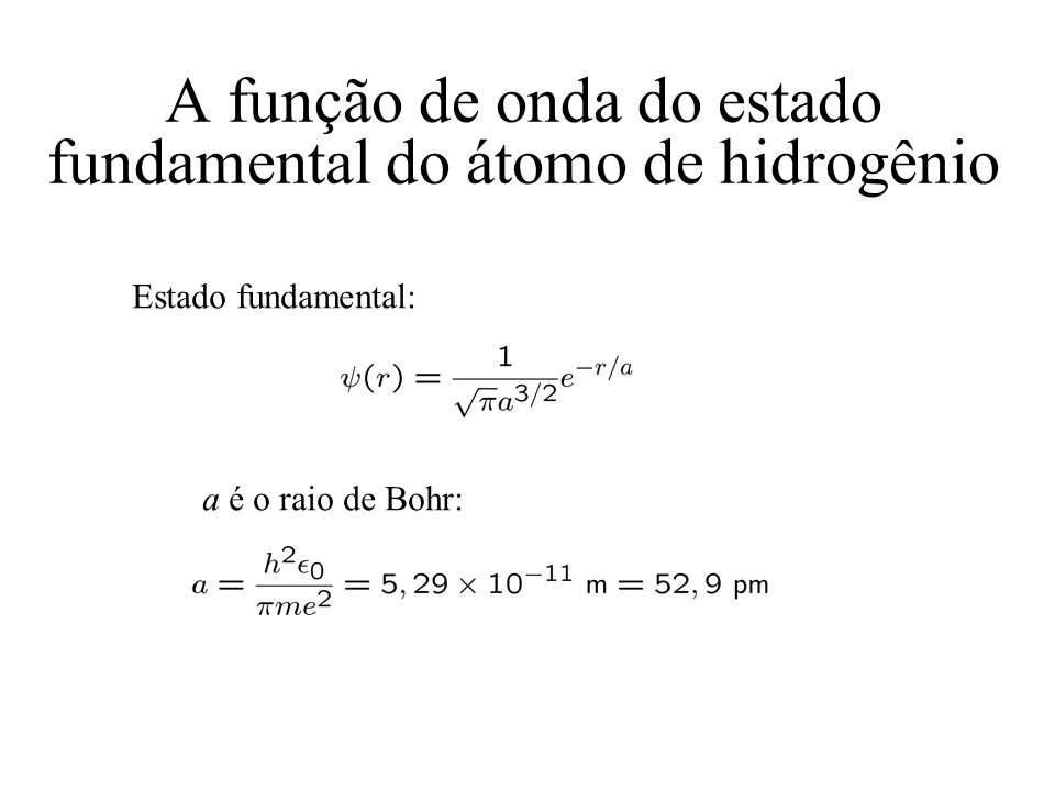A função de onda do estado fundamental do átomo de hidrogênio