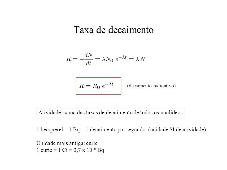 Taxa de decaimento (decaimento radioativo) Atividade: soma das taxas de decaimento de todos os nuclídeos.