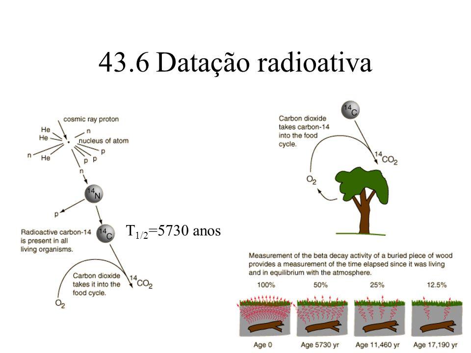 43.6 Datação radioativa T1/2=5730 anos