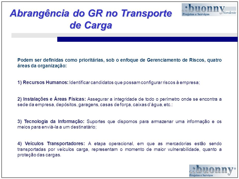 Abrangência do GR no Transporte de Carga