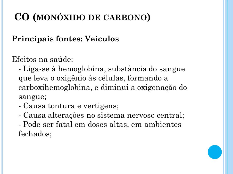CO (monóxido de carbono)