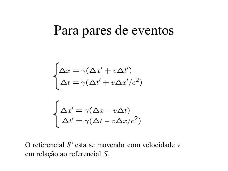 Para pares de eventos O referencial S' esta se movendo com velocidade v em relação ao referencial S.