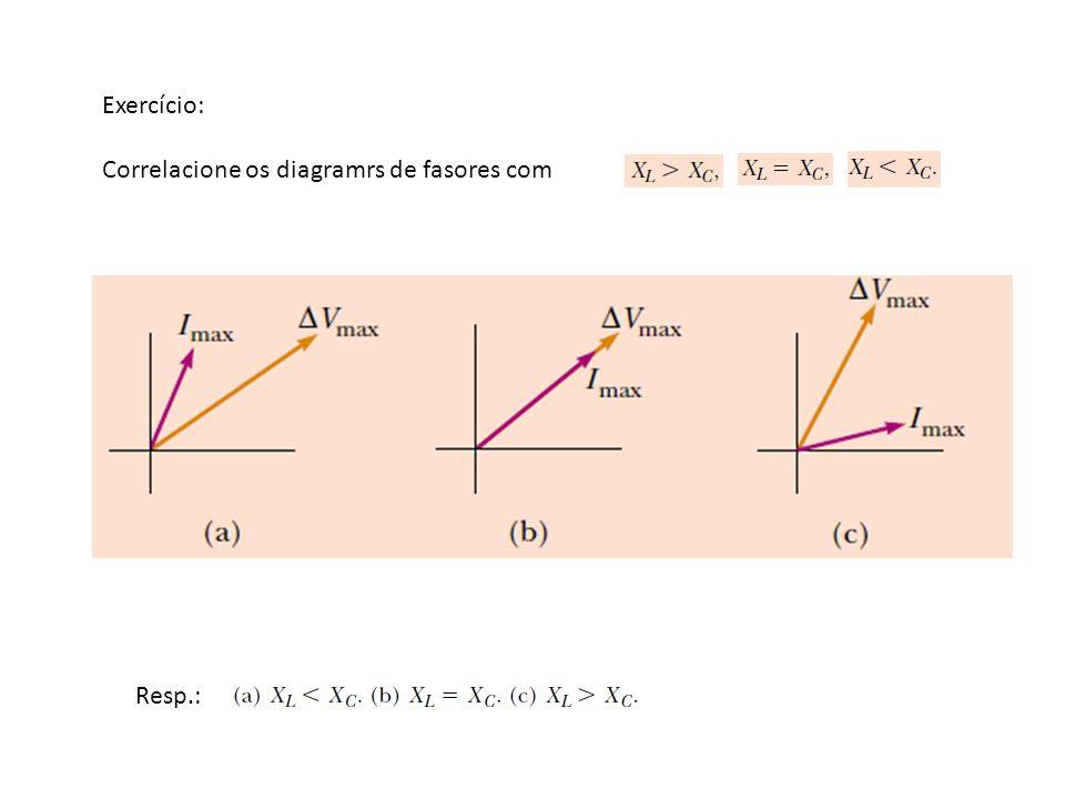 Exercício: Correlacione os diagramrs de fasores com Resp.:
