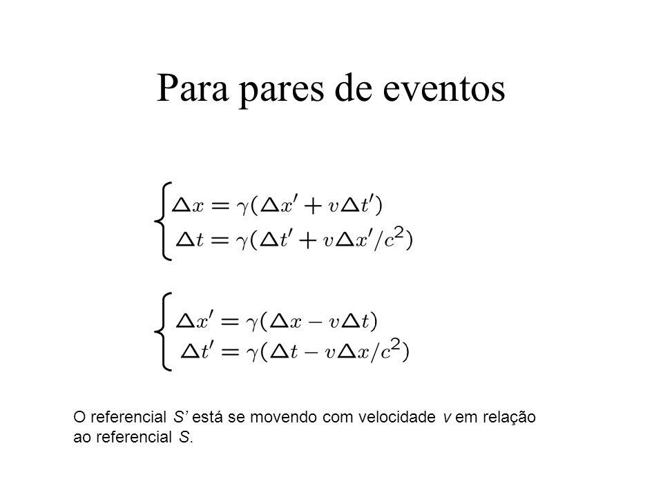 Para pares de eventos O referencial S' está se movendo com velocidade v em relação ao referencial S.