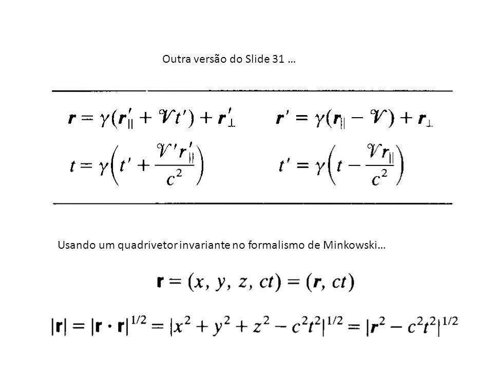 Outra versão do Slide 31 … Usando um quadrivetor invariante no formalismo de Minkowski…