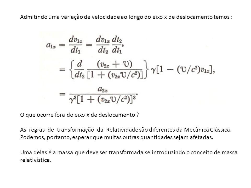 Admitindo uma variação de velocidade ao longo do eixo x de deslocamento temos :