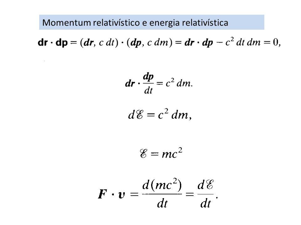 Momentum relativístico e energia relativística