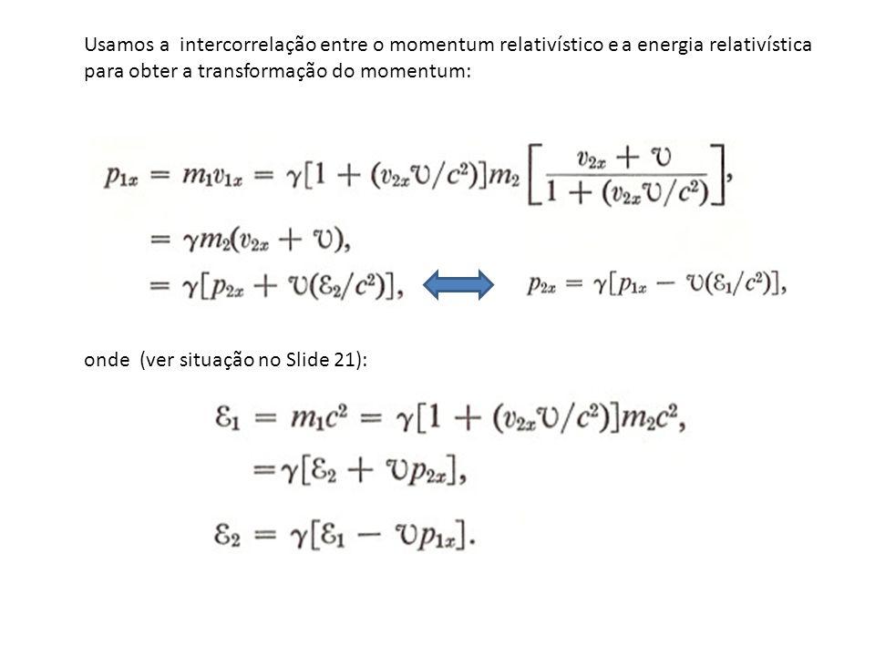 Usamos a intercorrelação entre o momentum relativístico e a energia relativística para obter a transformação do momentum: