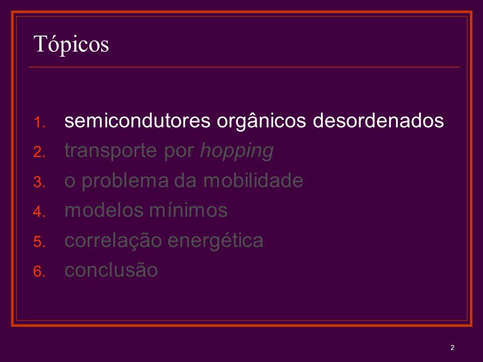 Tópicos semicondutores orgânicos desordenados transporte por hopping