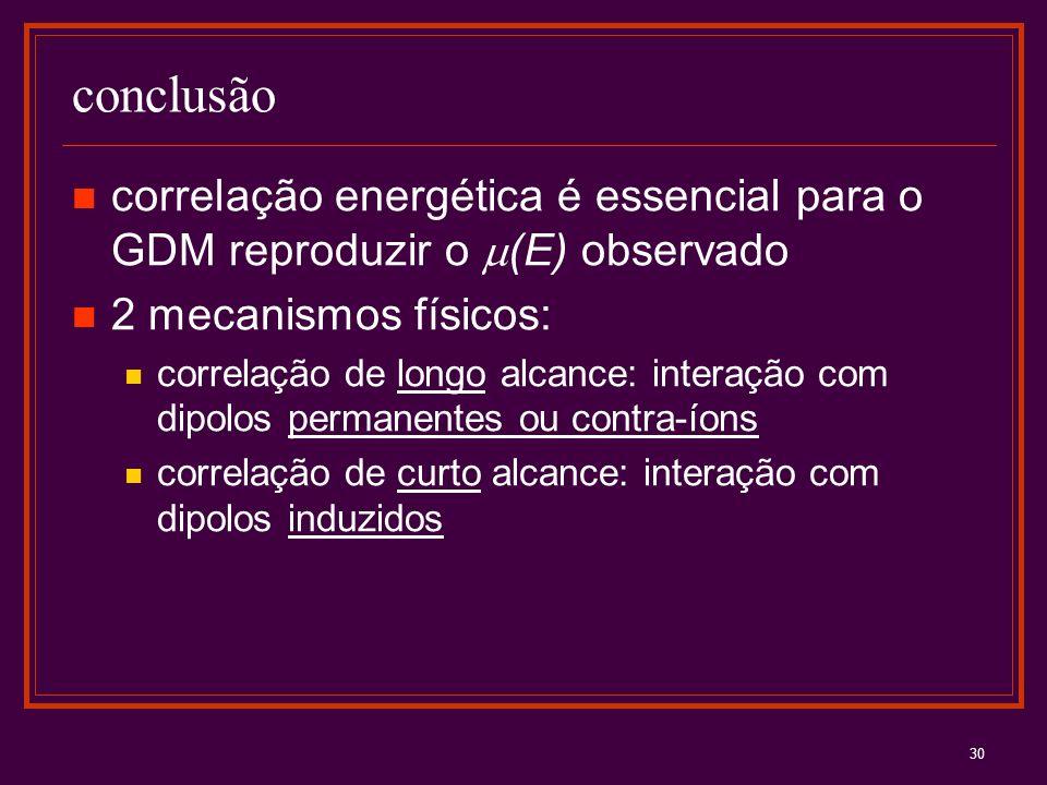 conclusão correlação energética é essencial para o GDM reproduzir o m(E) observado. 2 mecanismos físicos: