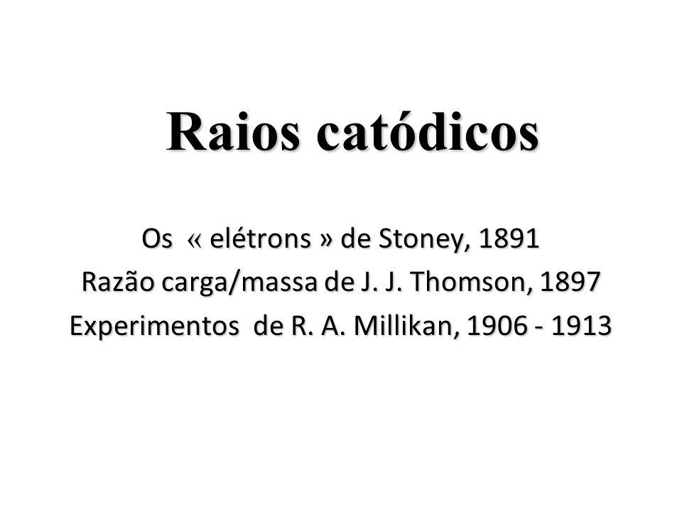 Raios catódicos Os « elétrons » de Stoney, 1891