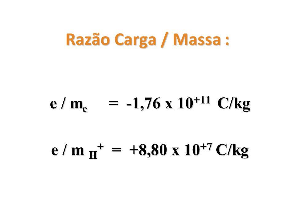 e / me = -1,76 x 10+11 C/kg e / m H+ = +8,80 x 10+7 C/kg