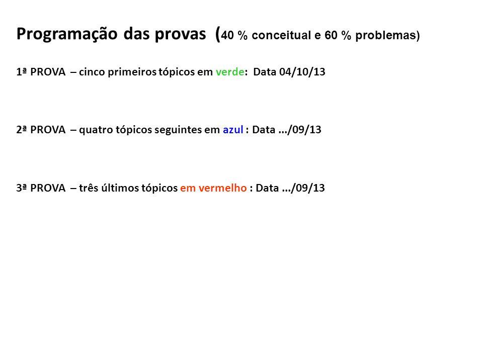 Programação das provas (40 % conceitual e 60 % problemas)