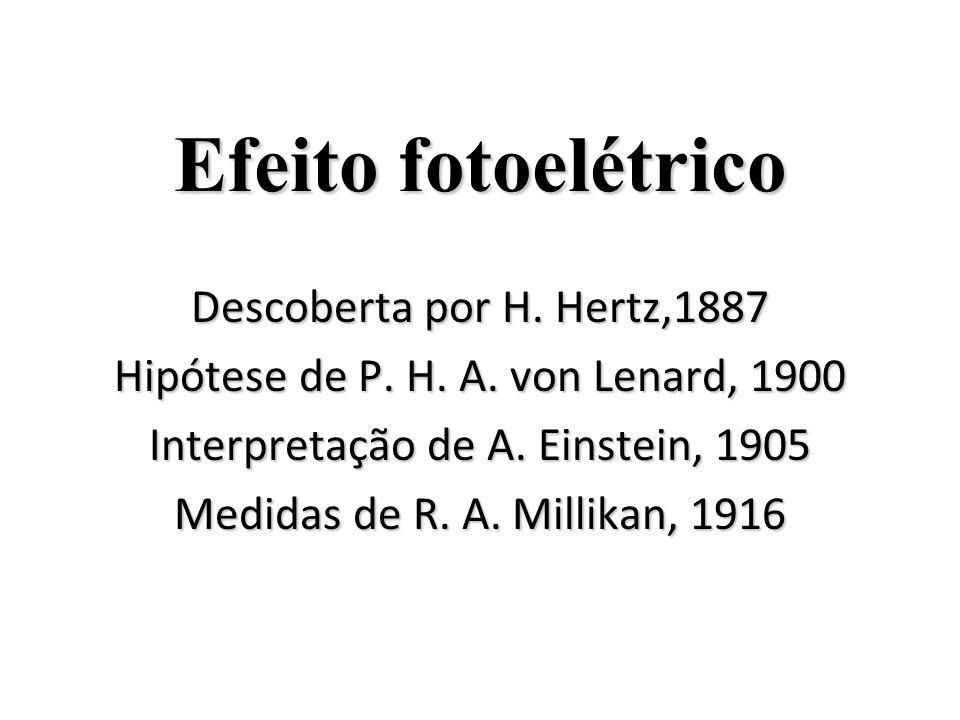 Efeito fotoelétrico Descoberta por H. Hertz,1887