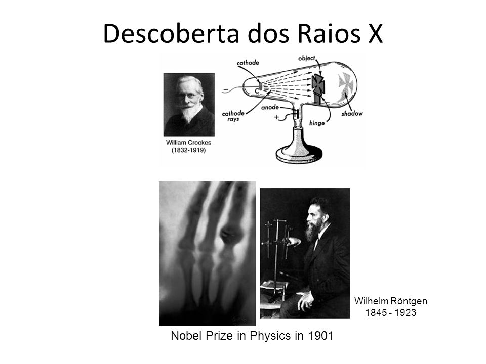 Descoberta dos Raios X Nobel Prize in Physics in 1901 Wilhelm Röntgen