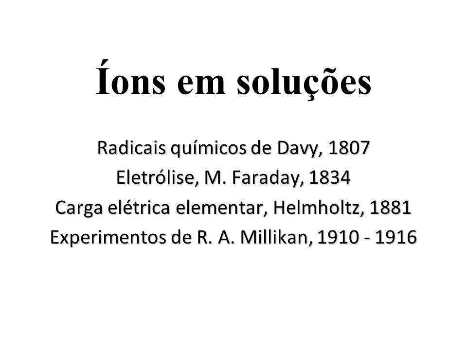 Íons em soluções Radicais químicos de Davy, 1807