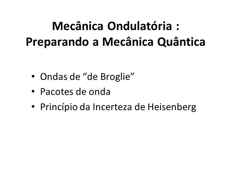 Mecânica Ondulatória : Preparando a Mecânica Quântica