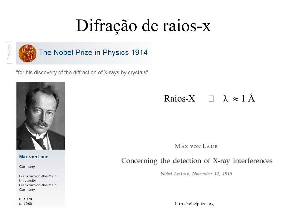 Difração de raios-x Raios-X Þ l » 1 Å http://nobelprize.org