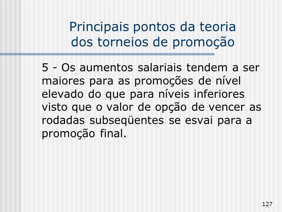 Principais pontos da teoria dos torneios de promoção