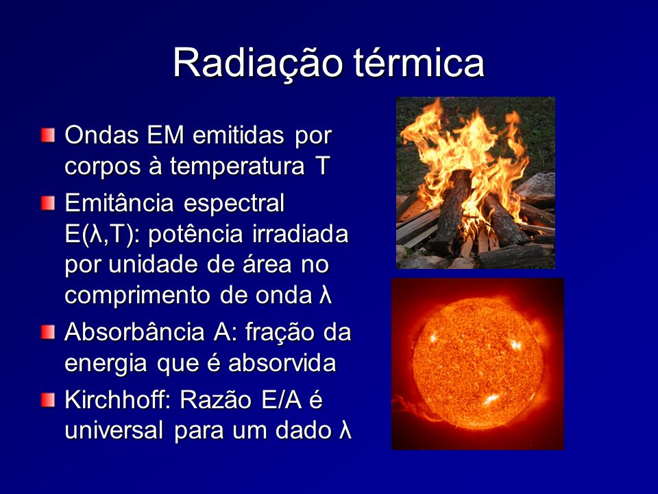 Radiação térmica Ondas EM emitidas por corpos à temperatura T