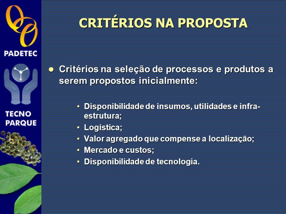 CRITÉRIOS NA PROPOSTA Critérios na seleção de processos e produtos a serem propostos inicialmente:
