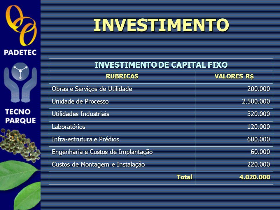 INVESTIMENTO DE CAPITAL FIXO