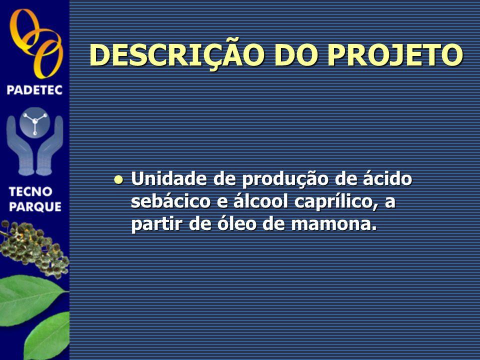 DESCRIÇÃO DO PROJETO Unidade de produção de ácido sebácico e álcool caprílico, a partir de óleo de mamona.