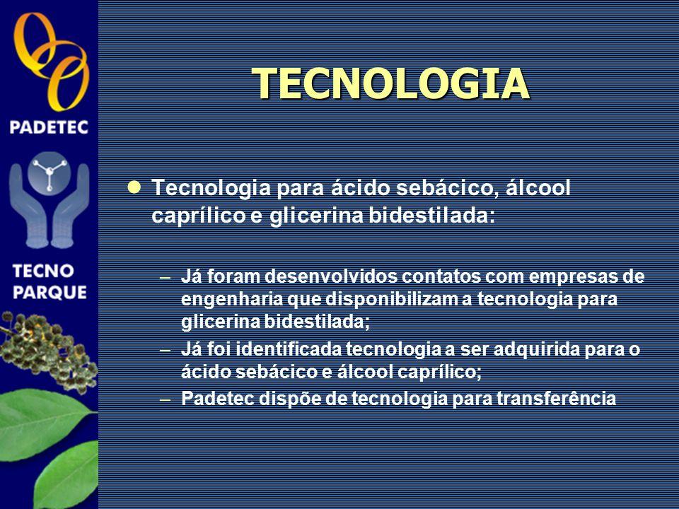 TECNOLOGIA Tecnologia para ácido sebácico, álcool caprílico e glicerina bidestilada: