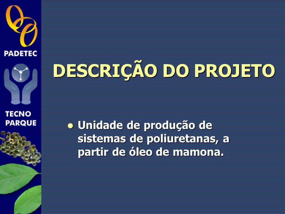 DESCRIÇÃO DO PROJETO Unidade de produção de sistemas de poliuretanas, a partir de óleo de mamona.