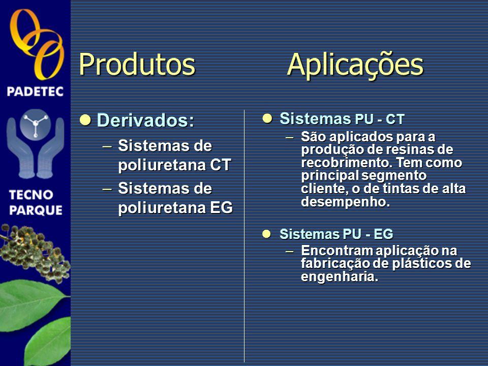 Produtos Aplicações Derivados: Sistemas PU - CT