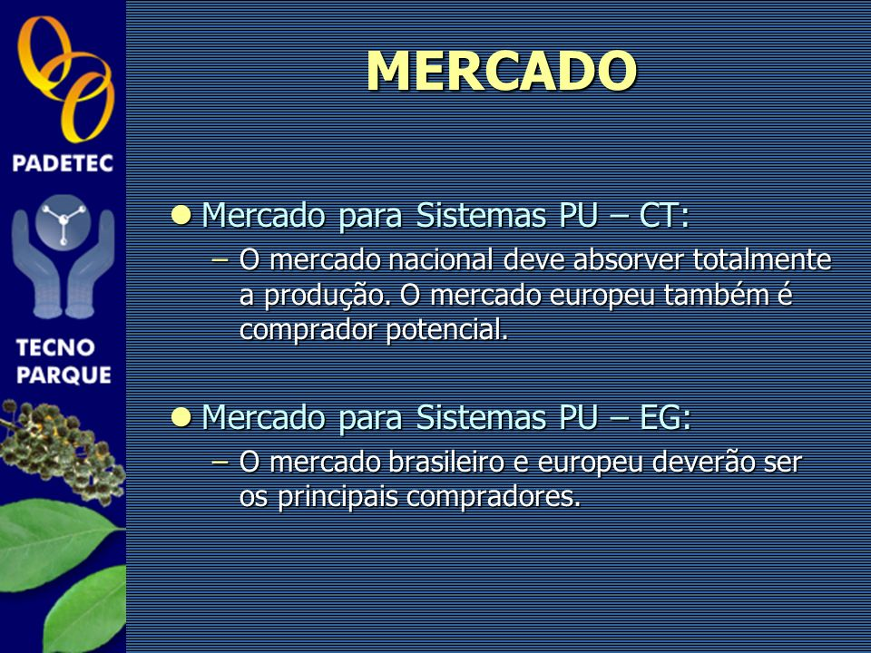 MERCADO Mercado para Sistemas PU – CT: Mercado para Sistemas PU – EG: