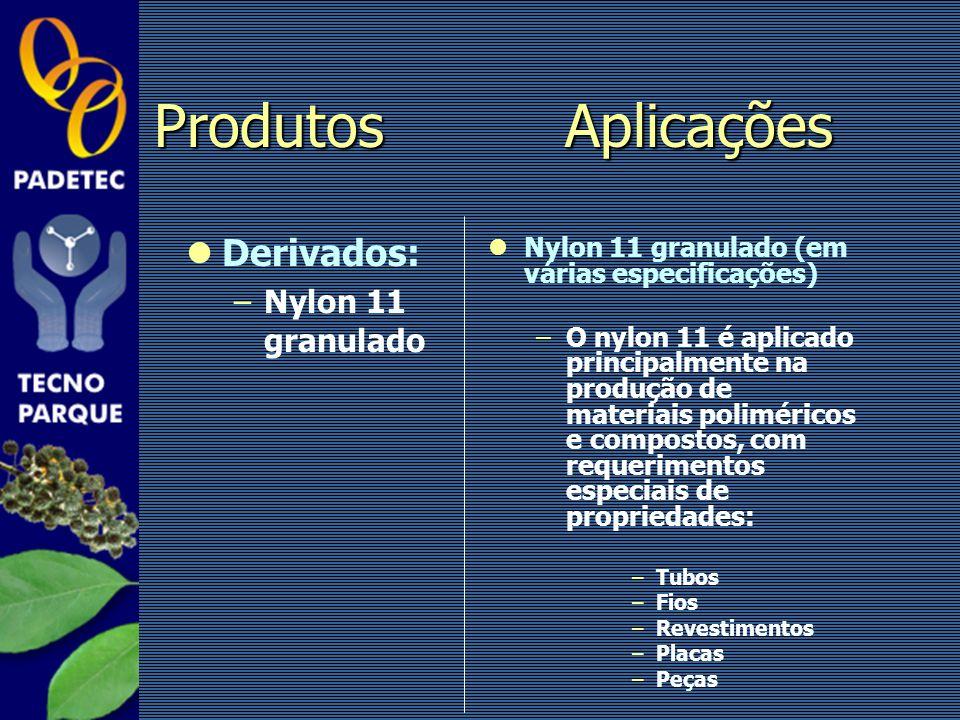 Produtos Aplicações Derivados: Nylon 11 granulado