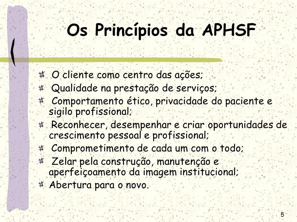 Os Princípios da APHSF O cliente como centro das ações;