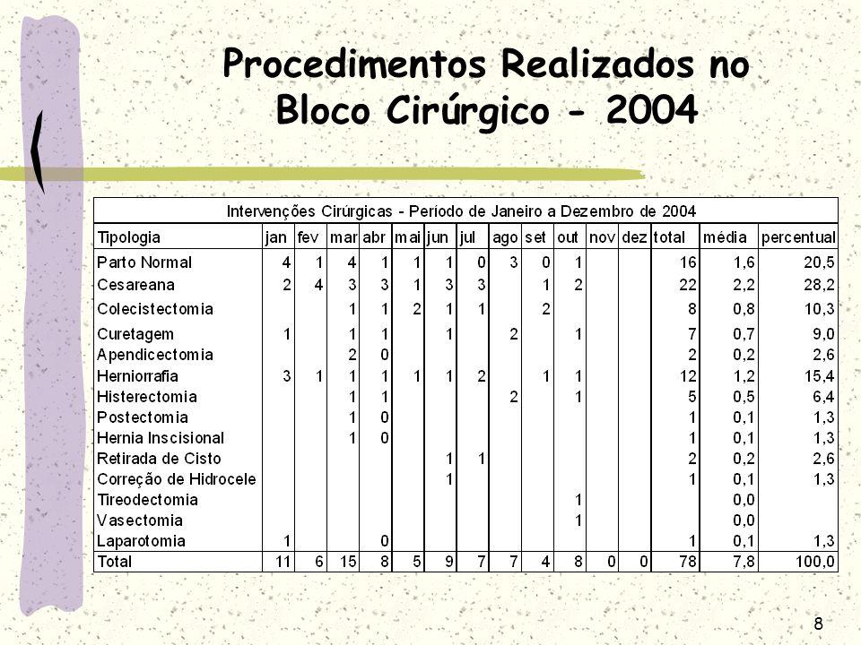 Procedimentos Realizados no Bloco Cirúrgico - 2004
