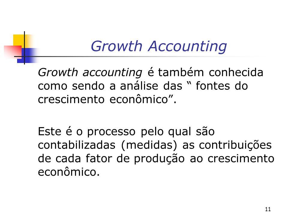 Growth Accounting Growth accounting é também conhecida como sendo a análise das fontes do crescimento econômico .