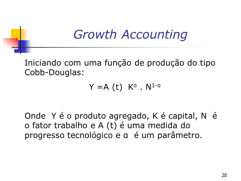 Growth AccountingIniciando com uma função de produção do tipo Cobb-Douglas: Y =A (t) Kα . N1-α.