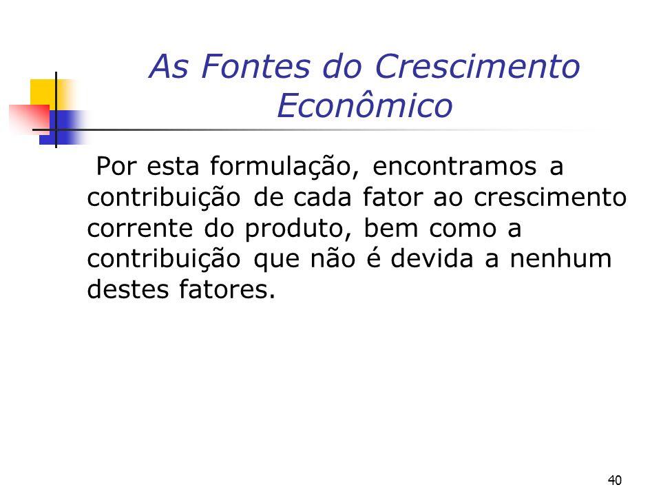 As Fontes do Crescimento Econômico