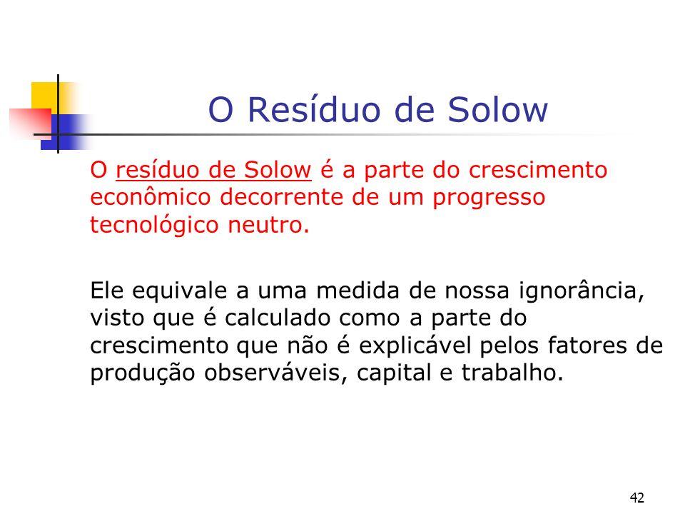 O Resíduo de Solow O resíduo de Solow é a parte do crescimento econômico decorrente de um progresso tecnológico neutro.